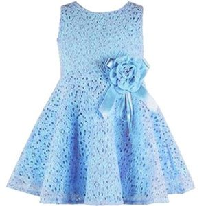 Other - Sleeveless Lace Pleated Dress with Flower